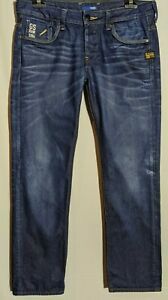 "Men's G-Star Raw 5204 Jeans Low Attacc Straight Dark Blue Size 33"" Leg 32"""