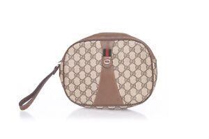 GUCCI Brown Monogram Pouch Zip Bag Vintage GG Coated Canvas Plus Web Wristlet