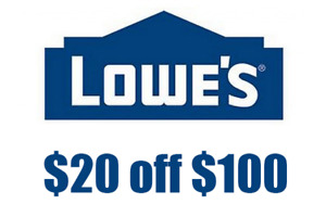 1 Lowes $20 OFF $100 lowes.comm only FAST _SHIPMENT_____________------