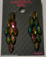 Bead Colorful Sparkle Dangle Material Girl Earrings Oval