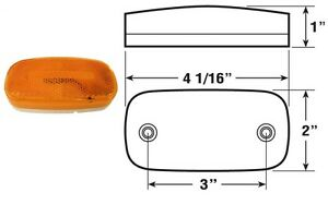 Oval Amber Incandescent Trailer Clearance Marker Light Dual Lamps Included