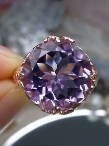 Natural Amethyst Victorian Rose Gold / Sterling Silver Ring (Custom-Made)