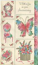 VINTAGE RAINBOW COLORS CLOCK NOSEGAY BUTTERLY BLUE BIRD ROSES FLOWERS CARD PRINT