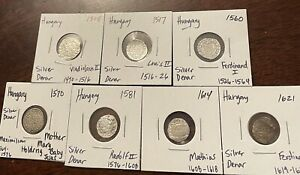 7 DIFFERENT KINGS Of HUNGARY Silver Medieval coins Mary & Jesus (1505-1621) NICE
