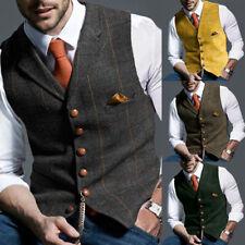 Hombre Cuello En V Tweed Chaleco Vintage Lana Blennd Espiguilla Boda Chaquetón