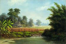 """CUBAN ART #116 ** RODRIGUEZ ** CASA DE LA BRAZA II 40 X 27"""" SIGNED ON CANVAS"""