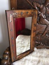 Industrial Gothic Vintage Farmhouse Heavy Chunky Oak Mirror. Metal Detailing.