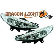 LHD Projector Headlights Pair LED Dragon Clear Chrome H1 For Peugeot 207 06-12