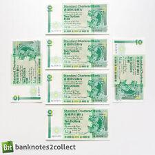 HONG KONG: 6 x 10 Standard Chartered Bank Banknotes with Consecutive Numbers.