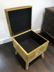 Mid Century Style Golden Yellow Velvet Footstool Storage Trunk 41cm Tall