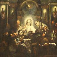 Dipinto antico religioso quadro olio su tela con cornice arte700 XVIII secolo