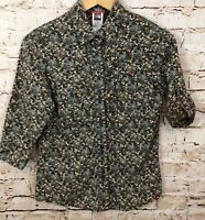 The North Face floral button shirt women small brown floral roll tab 3/4 slv A13