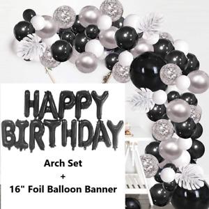 Black Silver Balloon Arch Kit Balloons Garland Birthday Wedding Shower Party