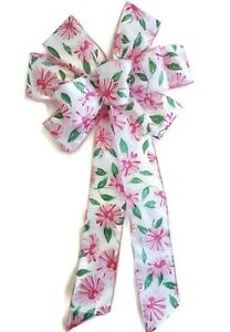 """Large 9-10"""" Handmade Pink Daisy Wired Bow Bows Spring Flower Easter Floral White"""