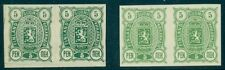 FINLAND #39 (28) 5pen Imperf PROOF PAIRS in 2 shades of green, without gum, VF