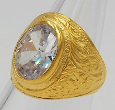 MEN RING WHITE SAPPHIRE 18K 22K 24K YELLOW GOLD FILLED GP EAGLE CARVED SIZE 9.5