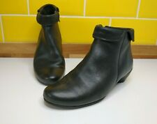 ECCO Black Leather Block Heel Ankle Boots Size 4 / 37 Autumn Winter