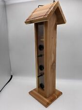 Cedar Tall Bird Feeder with Plastic Pegs and Plastic Circle Opening