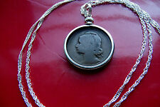 "1924-1925  Portuguese Lady Liberty 10c Pendant on a 30"" 925 Silver Wavy Chain"