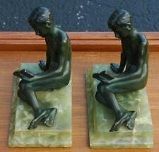 Vintage Pair of Ferdinand Lugerth Art Deco Bronze Bookends of Boy Reading a Book