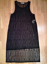 Vestido negro encaje transparente BERSHKA talla S sin mangas largo desigual 219