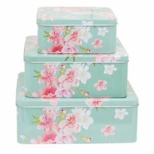 Set Of 3 Floral Design Square Nesting Cookie Tins | Cake, Biscuit, Storage Tins