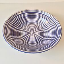 TODD OF MONTEREY COBALT BLUE CONCENTRIC CIRCLES WHITE CERAMIC BOWL HAND CRAFT