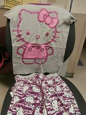Hello Kitty PJ Pajama Lounge Cotton Pants AND KNIT TOP Sanrio Girls Sz M