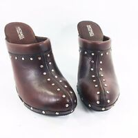"Michael Kors Brown Leather Studded Clogs Mule 4"" Wooden Sole Womens Shoes Sz 9.5"