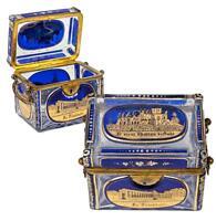 Antique Bohemian Glass Sugar Casket, MOSER Box, 5 Engraved Grand Tour Souv Scene