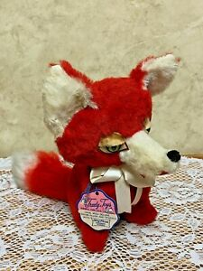 "Vintage TRUDY TOYS Plush FOX Red & White 9"" USA Made ~ NEW w/Tag Rare"