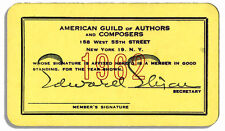Milton Berle 1962 Membership Card to Authors & Composer