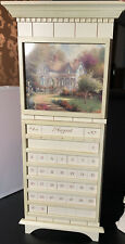 Thomas Kinkade Perpetual Calendar White Wood Changeable Images