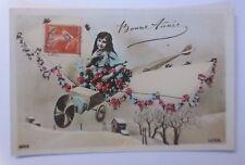 Neujahr, Flugzeug, Kinder, Blumen  1911 ♥ (58442)