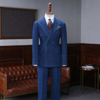 Vintage Jacket Pants Blue Denim Double Breasted Men Suits Wedding Regular Tuxedo