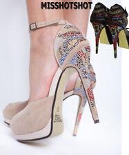 Women's Peep Toe Strapy Platform Stiletto Ladies Hi High Heel Sandal Shoes Size
