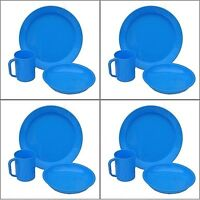 12 PIECE FAMILY CAMPING DINNER FOOD SET 4 PLASTIC PLATES  4 BOWLS & 4 CUPS MUGS