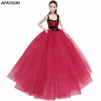 Red High Dress Big Evening Dresses Party Gown Vestidoes Outfits For Barbie Dolls