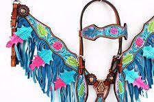 PURPLE TURQUOISE FRINGE WESTERN LEATHER HORSE BRIDLE HEADSTALL BREASTCOLLAR SET