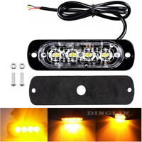 1pc Amber 4 LED Car Truck Emergency Beacon Warning Hazard Flash Strobe Light Bar