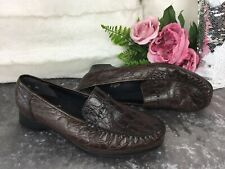 Rieker Antistress Shoes Brown Real Leather Croc Patent Comfort Loafers Size 8 UK