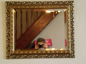 Gorgeous Art Nouveau, Rococo Style Antique Gold Wood Framed Bevelled Mirror