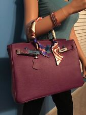AMAZING  CELEBRITY INSPIRED 35CM PURPLE SOFT LEATHER HANDBAG W/LOCK AND KEY