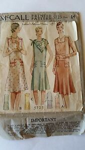 *RARE Antique Sewing Pattern-Ladies Dress 1920's- #5725