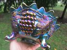 Northwood GRAPE & CABLE ANTIQUE CARNIVAL GLASS FTD FRUIT BOWL~GREEN~SPECTACULAR!