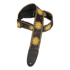 Levys 2 Inch Sun Design Jacquard Weave Guitar Strap - Black