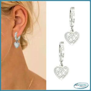 orecchini cuore pendenti da donna a cerchio con zirconi brillantini in acciaio e