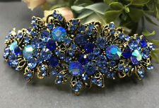 New Gold Tone Flower Rhinestone Blue Color Hair Clip Barrette ha263