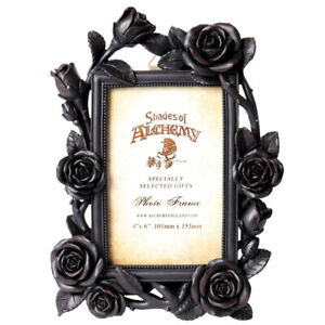 "Alchemy Gothic NEW Romantic Black Roses Picture Frame 4X6"" Photo Gift Decor SA17"