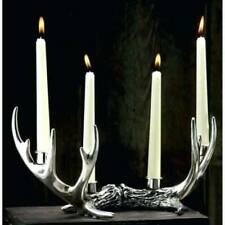 Silver Rustic Antler Candle Holder 4 Taper Vintage Style Stag Deer  Home Decor